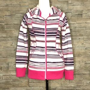 Oakley white, pink and eggplant striped hoodie